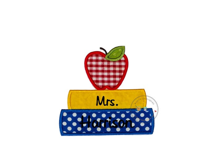 Stack of book and a red apple iron on fabric back to school applique, primary color back to school no sew patch for kids clothing