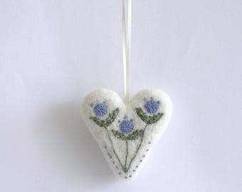 Needle Felted and embroidery Heart, Felted hanging Heart ornament