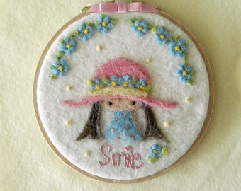 Little Girl Smile Wool Painting Needle felted Painting Embroidery Hoop Art Nursery Embroidery hoop, Whimsical GirlHanging Art