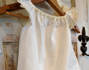 Off White Cotton Flower Girl Dress with Vintage Lace Ellie Ann and Lucy
