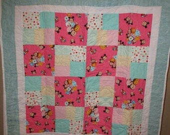 Disney Tsum Tsum Quilt in Pink and Aqua Blue