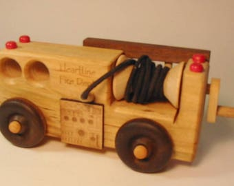 Heirloom-Quality Hardwood Toy Fire Engine Truck with Ladder and Hose