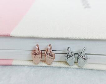 Middle Finger Earrings Stud Earrings Rose Gold Silver Fuck Earrings Fuck You Earrings FU Earrings Gift for Her Birthday Gift