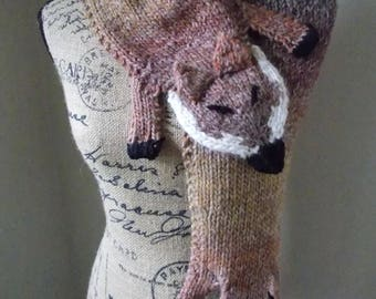 Knit Fox Scarf, red fox stole hand knit from variegated alpaca blend yarn, cross body fox stole, red brown fox capelet, bijou fox capelet