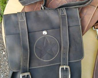 "KISMIT Leather Saddlebag Biker  Motorcycle Converts to Messenger  Bag BLACK  11x12x3""deep."