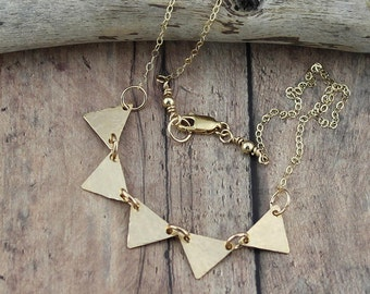 14K Gold Filled Triangle Necklace; Fun, Dainty, Casual Necklace on a 16, 17, 18, 19 or 20-Inch, 14K Gold Filled Cable Chain, Woman's Gift