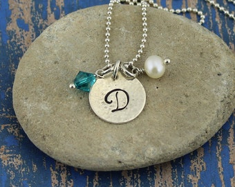 Script Initial Pendant, 14K Gold Filled or Sterling Silver w/Pearl & Birthstone Crystal Accents on 16 to 24-In. Bead or Box Chain, Gift