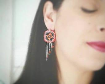 Square earrings, Fringe Earrings, Chandelier earrings, Drop Earrings, long earrings, boho, embroided jewelry,statement earrings,boho jewelry