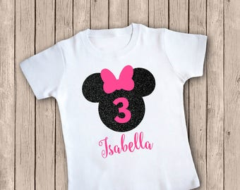 Minnie Mouse Personalized Third Birthday Outfit, Three Birthday Shirt, Third Birthday Iron-On, Pink and Glitter Black, Birthday Iron On