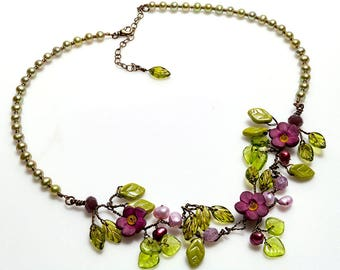 Purple Pink and Green Bridal Necklace, Beaded Necklace, Wedding Jewelry, Flower Necklace, Vine Necklace, Rustic Wedding Jewelry