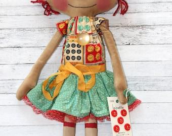 Button Lover Lucy Anne - Primitive Raggedy Ann Doll
