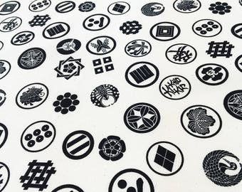 Japanese family crest symbols furoshiki fabric, black and white kamon fabric, cotton wrapping cloth kawaii fabric, japanese kimono crest