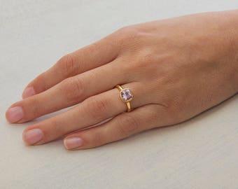 Morganite Engagement Ring Gold Morganite Ring, Solitaire Bezel Ring Pink Gemstone 18k Gold Ring, Unique Engagement Ring