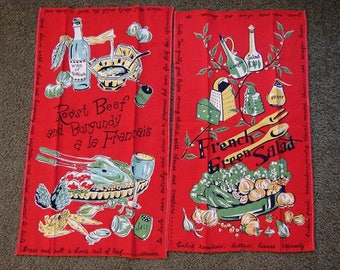 1950s Linens, 2 Kitchen Tea Towels, 50s Mid Century Towels, 2 Cotton Kitchen Towels Red, Novelty Print Salad and Roast Beef with Wine