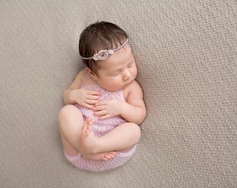 Newborn lace Mohair knit open back romper-newborn mohair props-many colors available