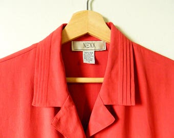 Vintage Silk Pleated Collar Blouse / 80s Does 40s Silk Blouse / Rust Red 1940s Style Boxy Blouse