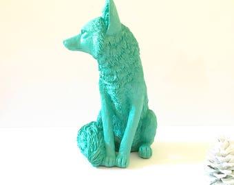 """CARRIBEAN BLUE Large Fox Statue for table top / woodland decor / nursery decor / kids room decor / office decor / 13.5""""  tall animal art"""