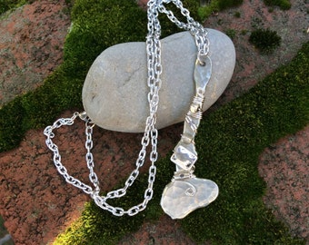 Hand Forged pewter pendant necklace with wire wrapped embellishments attached