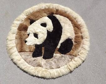 "Alpaca Fur Panda Bear Design Rug Wall Hanging Vintage 45"" Super Soft"