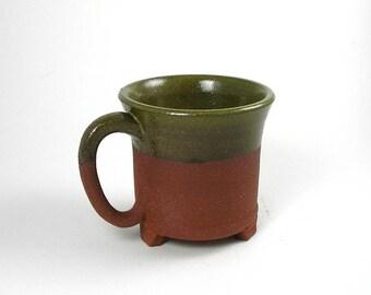 Ceramic mug, red stoneware, green glaze, unique coffee mug, teacup, handmade mug, pottery mug, wheel thrown