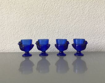 Four Vintage French Blue Glass Chicken Hen Egg Cups