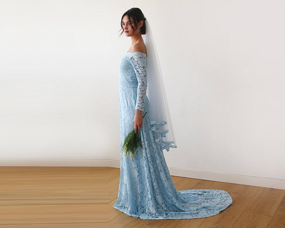 Blue Wedding Dresses with Trains