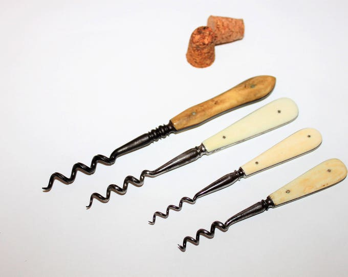 Victorian Era Collection of Four Antique English Perfume Bottle Corkscrews with Bovine Bone Handles