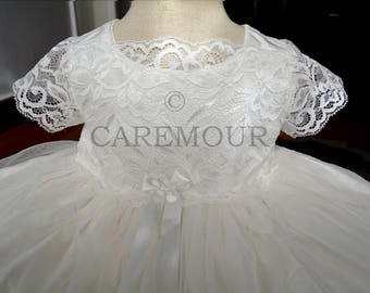 Christening gown for girls, Silk with Venice lace