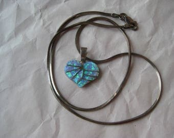 Heart Opal Inlay Sterling Necklace Vintage 925 Silver Pendant Zuni IS Irene Simplico