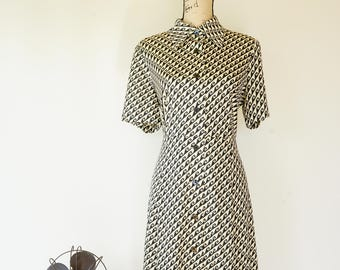 Free Shipping! Vintage Houndstooth Dress Size M, Vintage Japanese Dress, 1980s Dress, Vintage Clothing, Houndstooth Dress, Shirt Dress