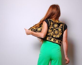 70s xs gypsy mirror vest gold embroidery boho top womens vintage clothing