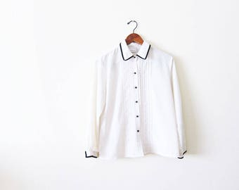 Black and White Dress Shirt / Womens White Button Down / Tuxedo Shirt / Two Tone Shirt / Vintage Collared Shirt / White Long Sleeve Shirt