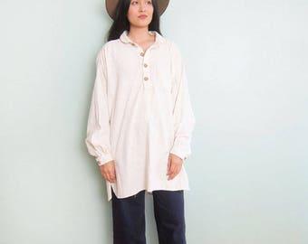 1970s Cotton Tunic Top - White 1970s Tunic Shirt - Bohemian Clothing - White Boho Dress - Minimalist Clothing - Hippie Shirt - Natural Fiber