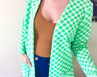 1960s green + white checkered cardigan // vintage jacket