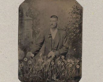 Tintype of a Man Picking Flowers in a Garden