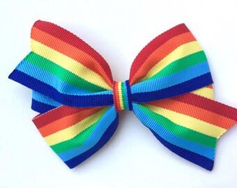 Rainbow hair bow - rainbow bow, rainbow boutique bow, toddler bow, striped hair bow, 4 inch bows, pinwheel bows, girls hair bows, girls bows