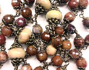 Catholic 5 Decade Rosary, Bronze, 8 mm Aqua Nueva Agate Beads & 12 mm Rondelles, Prayer Beads, Spiritual, Christian Faith, Pray The Rosary