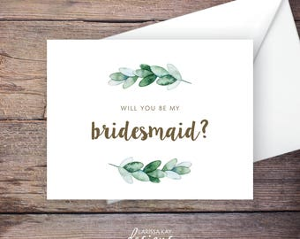 Printable Green Garden Will You Be My Bridesmaid Card, Greenery, Instant Download Greeting Card, Be My Bridesmaid, Wedding Card – Natalie