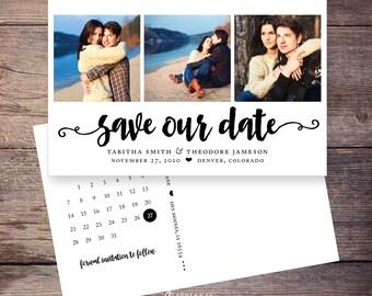 Save the Date Postcard, Save-the-Date Card, Calendar, Photos, DIY Printable, Digital File – Tabitha
