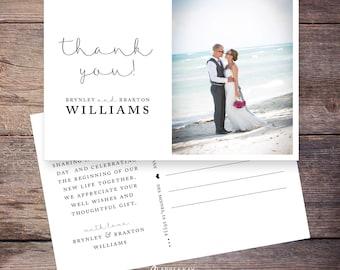 Printable Wedding Photo Thank You postcard, Wedding Thank You Card, Photo thank you cards, personalized thank you –Brynley