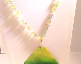 Painted abalone necklace