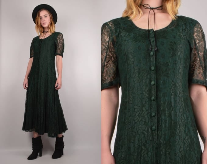 Vintage Green Lace Midi Dress