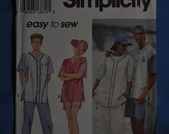 Men's or Women's Baseball Style Shirt - Size large/extra large - UNCUT - Simplicity 8306