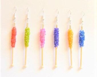 Food Jewelry, Rock Candy Earrings, Miniature Food Earrings, Polymer Clay Food, Mini Food Jewelry, Candy Jewelry, Rock Candy Charm, Kawaii