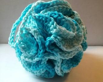 Large Blue Ombre Cotton Loofah, Crochet Bath Pouf, Shower Puff