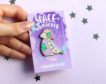 Space Wanderer Hard Enamel Pin, Glitter, Space, Planet, Stars, Cute, Kawaii, Lapel Pin, Pastel