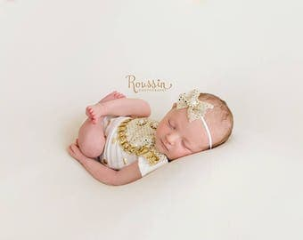 Midas Touch - newborn romper set in white with gold metallic polka dots - open in back with headband (RTS)