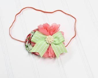 CLEARANCE HEADBAND - darling headband in coral pink, red, celery green, cream and watermelon pink (RTS)
