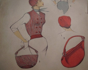 Vintage 1950's Advance 5685 Sally Victor Hat, Waistcoat and Bag Sewing Pattern, Size 12, Bust 30