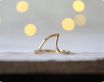 14kt. Yellow Gold Shark Fin Ring//Handcrafted//Made to order//Minimalist Jewelry//Nautical